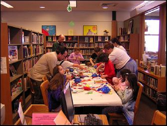Children at a craft program at the Kellogg-Hubbard